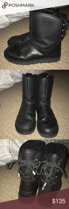 Black Leather Ugg Boots with lace up back Very lightly used super comfortable black Ugg boots with lace up leather back and weaved details UGG Shoes Winter & Rain Boots