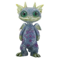 Mythical Green and Blue Baby Dragon. www.teeliesfairygarden.com . . . This mythical green and blue baby dragon is rarely seen by fairies! He comes at night to play with the owls and the fireflies! #dragons