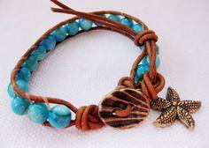 Starfish at Low Tide - aqua & gold single leather wrap coastal bracelet