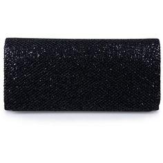Ecosusi Women Flap Dazzling Evening Bag Hard Case Clutch Handbag Purse... ($20) ❤ liked on Polyvore featuring bags, handbags, clutches, black clutches, hand bags, evening handbags, purse clutches and black chain handbag
