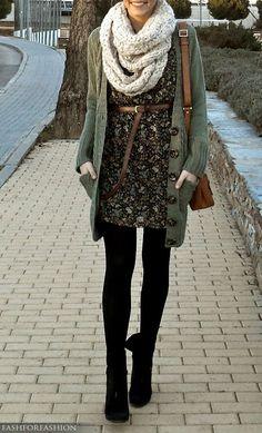 Dress, sweater, scarf-love layers