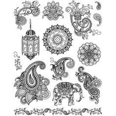 Transparent Silicone Stamps 18cm x 14cm Re-usable Indian Elephant Mendi Designs