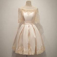 Newest boat neck short sleeves lace homecoming dresses,sparkly knee length simple cheap homecoming dress,modest cocktail dresses,beauty graduation dresses Dresses For Teens, Modest Dresses, Trendy Dresses, Elegant Dresses, Nice Dresses, Short Dresses, Dresses With Sleeves, Formal Dresses, Dresses 2016