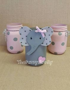 These adorable elephant set of mason jars is an original Fuzzy Firefly Creation. This listing is for the set of 3 jars. The set includes the elephant and 2 polka dot jars. Can be customized by color send me a message if you wish to customize the color. If in need of just colored polka