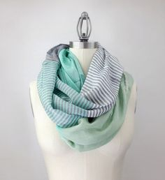 MINT green infinity scarf, MORE COLORS, color block,  silky feel, extra chunky lightweight mint scarf. $34.50, via Etsy.