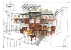 RICHARD CHADWICK POKUSEVSKI'S DELICATTESSEN - Development sketches for a client opening up a new outlet in Media City , Salford , on the back of the first successful one in Heaton Moor.