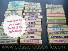 How to Make a Books of the Bible Game with a wooden stacking tower game - EASY PEASY. Printable game directions, too.