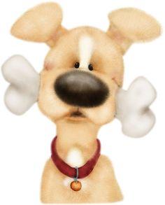 Dog with bone Cute Cartoon Pictures, Animal Pictures, Cute Pictures, Cute Animal Clipart, Tole Painting Patterns, Cartoon Dog, Illustrations, Cute Illustration, Dog Art