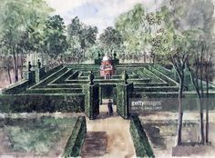 Labyrinthine  du Chateau de Groussay.  Rendering by Alexandre Serebriakoff.