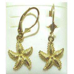 14K-Yellow-Gold-Star-Fish-Lever-Back-Earring-New-Length-1-1-4-E2381-14