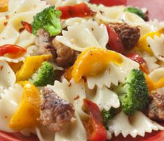 Bow tie Pasta Salad with Sweet Italian Sausages -