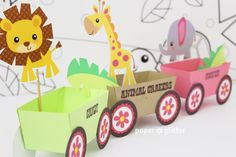 Animal Jungle Train Party Favor Box Truck Paper Craft Toy for GIRLS - Editable Text Printable PDF 0136. $4.00, via Etsy.