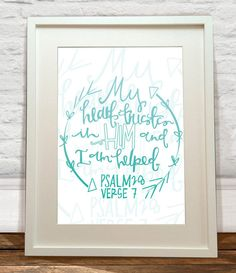 Psalm 28 Hand Lettered Turquoise Art Print by FelicityMildred, £5.00