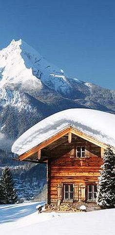 WINTER in the MOUNTAINS #snow cabin woodhouse amazing landscape nature