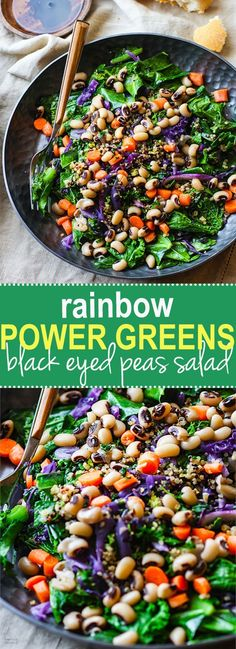 Vegan Rainbow Power Greens Salad with Black Eyed Peas. A healthy gluten free power greens salad packed with lucky black eyed peas and super nutrients. A great way to start off the new year and get back on track with clean eating. Easy to make and full of