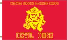 """Flag of the Day """"DEVIL DOGS"""" A1 Flags & Poles your flag source  #USMC #rvflags #rvflagpoles #USMarineCorps @U.S. Marines   @U.S. Marines http://www.a1flagsnpoles.com/marine-devil-dogs-flag"""