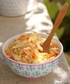Coleslaw comme à New York- 100 g de carottes - 100 g de choux blanc râpé - 2 c à s de mayonnaise - 2 c à s de yaourt - 1 c à c de moutarde de dijon - vinaigre - sel