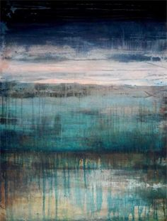 Skies Creep While Marshes Sleep, MELODY FRENCH abstract, contemporary, layered, abstract landscape, modern art - sold -