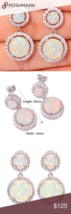 Double fire opal earrings. Restocking Double circles fire opal with white topaz (lab), in stamped a 925. Jewelry Earrings