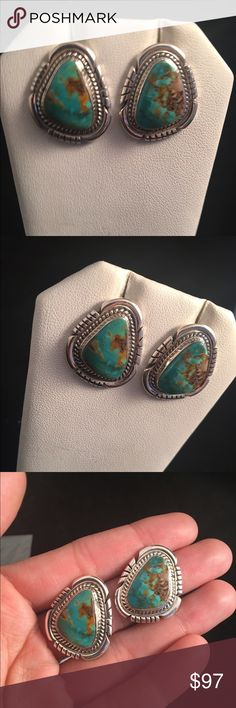 Navajo Royston Turquoise & Sterling Stud Earrings Beautiful handmade Navajo Royston Turquoise and sterling silver stud earrings. These gorgeous earrings are genuine stamped 925 sterling silver and made in the USA. These earrings are signed by the artist, Jon McCray. They are right at 1 inch long and 3/4 of an inch wide. Feel free to message me with any questions. Thank you and happy shopping! Jewelry Rings