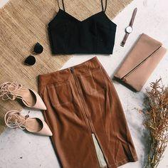 Leather Skirt   Black Crop   Shop Now   http://www.muraboutique.com.au/collections/bottoms/products/monaco-skirt?variant=18427331975  #muraboutique