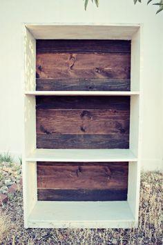 Bookshelf Redo, love the wood in bk