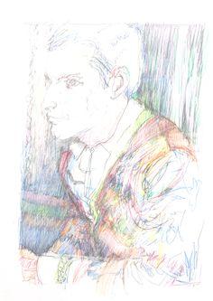 Guido Michl, Man gefällt (sich), Graphit / Buntstift auf Papier, 29,7 x 21 cm, 2009, 250 €