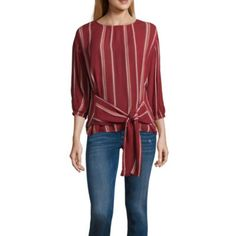 63332c6544a2 ana Ana Tie Front Striped Top 3 4 Sleeve Crew Neck Woven Embroidered  Bohemian Blouse JCPenney