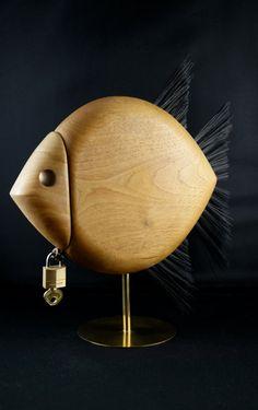 RARE mid century CARL AUBOCK brass wood fish bank by vintagemilieu