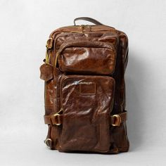 This Large Brown Leather Bag is durable in use and stylish in design, just great for hiking, camping, travelling in your spare time. Men's Leather, Brown Leather, Backpack Bags, Leather Backpack, Fashion Bags, Women's Fashion, Vintage Bag, Best Bags, Designer Bags