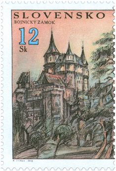 stamp 2002, Bojnice Castle, Slovakia - rated as one of the 25 most beautiful castles in Europe
