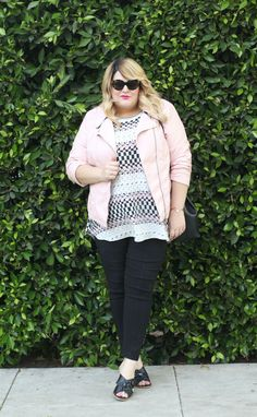 Nicolette Mason in a modern & minimalist look rocking our faux leather pastel pink moto jacket!