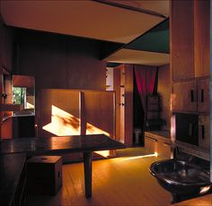 The interior of Le Corbusier's wonderful Petit Cabanon (small cabin) where he used to vacation.  An incredible model of small/compact house design, 100 years before it became popular (now).