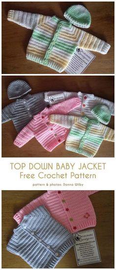 Top Down Baby Jacke kostenlose Häkelanleitung - Knitting and Crochet Baby Sweater Patterns, Baby Knitting Patterns, Baby Patterns, Crochet Patterns, Dress Patterns, Crochet Baby Jacket, Crochet Baby Sweaters, Crochet Baby Clothes, Crochet Baby Cardigan Free Pattern