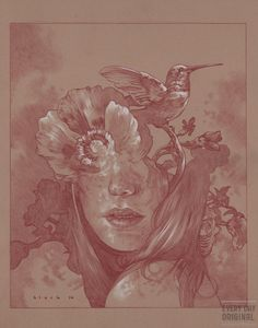 """Mother Nature  © Steven Russell Black  11""""x14"""" Prismacolor on toned paper"""