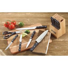 Cuisinart Cuisinart Advantage 14 Piece Triple-Rivet Knife Set and Wood Storage Block Handle Color: Walnut Black Cutlery, Cutlery Set, Knife Block Set, Knife Sets, Global Knife Sharpener, Global Knife Set, Wood Knife, High End Kitchens, Steak Knives