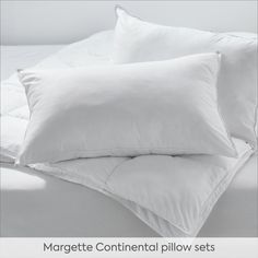 The ultra-light Margette continental pillow sets will ensure your best night's sleep ever. These pillow inners combine microfibre polyester with hollowfibre, which helps give them their luxurious goose-down feel but with the benefit of being hypo-allergenic. Pillow Set, Benefit, Bed Pillows, Bedding, Sleep, Bedroom, Night, Luxury, Home