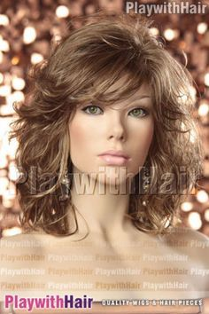 AMAZING-New-Tousled-Curly-Waved-Style-Wig-Golden-Brown-Mix 1 complemento qui siempre llevamos. United nations complemento a lo cual vestimos, the lo Medium Layered Hair, Medium Hair Cuts, Short Hair Cuts, Medium Hair Styles, Curly Hair Styles, Haircuts For Medium Hair, Hairstyles With Bangs, Layered Haircuts, Celebrity Hairstyles