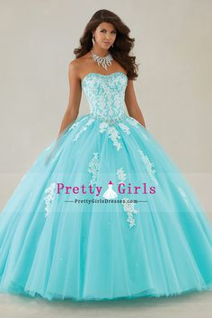 2016 quinceanera dresses ball gown sweep/brush train (<30cm) tulle lace up/corset tie back with beading/sequins
