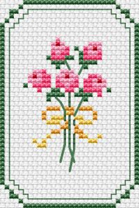 Pink Roses Card cross stitch pattern - Miniature card with a bouquet of pink roses for birthday or other celebration. Mini Cross Stitch, Cross Stitch Cards, Cross Stitch Flowers, Cross Stitching, Cross Stitch Embroidery, Light Pink Bouquet, Pink Rose Bouquet, White And Pink Roses, Light Pink Rose