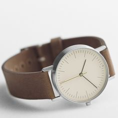 Stock S001B - stainless steel/brown strap