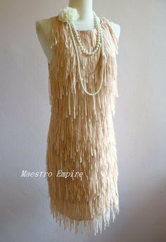 Art Deco 1920s Vintage Flapper Fringe Tassel Gatsby Elegant Charleston Dress