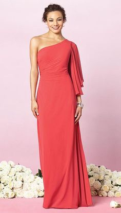 Dessy After Six One Shoulder Draped Sleeve Bridesmaid Dress 6637 at frenchnovelty.com