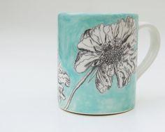 gift idea Sketchbook floral hand painted ceramic mug. £10.00, via Etsy.