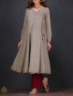 Brown Pintuck Angrakha Handloom Cotton Kurta by Jaypore Pakistani Dresses, Indian Dresses, Indian Outfits, Stylish Dresses, Simple Dresses, Casual Dresses, Pakistani Fashion Casual, Indian Fashion, Kurta Designs Women