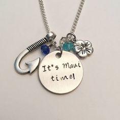It's Maui Time! Moana Maui Disney Inspired Stamped Charm Necklace #itsmauitime #moana #maui #demigod #dwaynejohnson #handstamped #charmnecklace