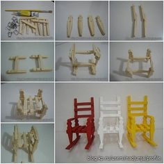 How to build Clothespin Rocking Chair step by step DIY instructions
