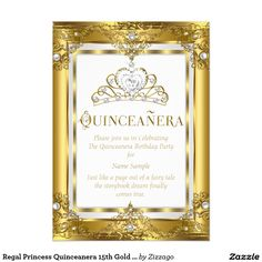 Regal Princess Quinceanera 15th Gold White Pearl 5x7 Paper Invitation Card