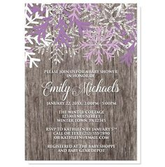 Rustic Winter Wood Purple Snowflake Baby Shower Invitations for your little #baby that's on its way!   #babyshower #invitations | Winter country inspired Baby Shower invitations designed with purple, white, and silver glitter-illustrated snowflakes over a rustic wood background illustration. These invitations combine rustic country wood and frosty purple snowflakes perfectly for an alternative Winter baby shower design. The purple in this design makes these invitations perfect for when…