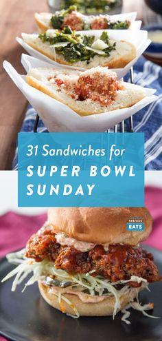 31 Super Bowl Sandwiches to Feed a Crowd Lamb Sandwich, Fish Sandwich, Chicken Parmesan Sandwich, Grilled Chicken Sandwiches, Slaw Recipes, Sandwich Recipes, Healthy Recipes, Teriyaki Glazed Salmon, Muffuletta Sandwich